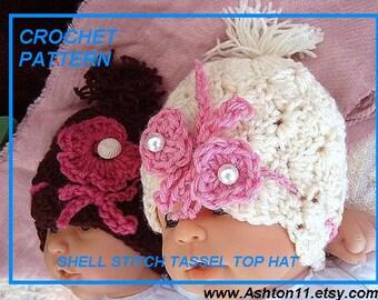 Shell Stitch Crochet Hat Pattern PDF 26. Shell Stitch Tassel Top Hat, sizes newborn to age 5