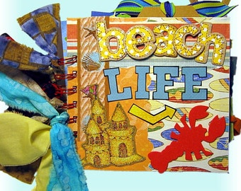 Beach Life, Mini Scrapbook, Summertime, Vacation Scrapbook, Beach album,Family Album,Surf,Sand,Ocean,Vacation,Suntan,Seashells,Palm trees