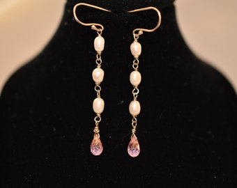 Pink Sapphire and White Pearl Sterling Silver Earrings