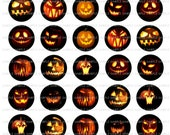 INSTANT DOWNLOAD...Jack-O-Lanters.... 1.313 inch Circle Images Collage Sheet for 1 Inch Buttons ...Buy 3 get 1