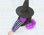 Purple and Black Girls Halloween Leg Warmers FREE SHIPPING