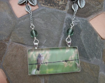 Bird On A Wire Pendant Necklace - Photo - Silver- Nature Inspired - Czech Glass