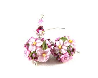 Pink Floral Earrings, Spring Pastel Earrings, Flower Jewelry, Lampwork Earrings, Nature Earrings, Cottage Chic, Glass Earrings - Gracie
