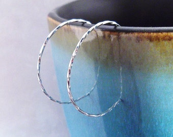 Small Twisted Silver Hoop Earrings, Sterling Silver Hoops
