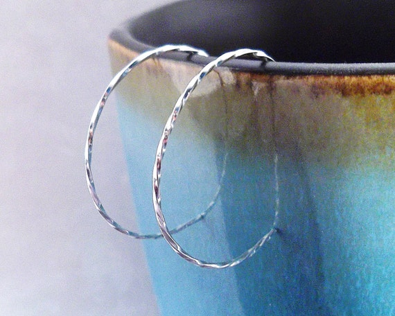 Small Twisted Silver Hoop Earrings, Sterling Silver Hoops