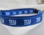 New York Giants Cat or Small Dog Collar with Option of Black or Pink Backing
