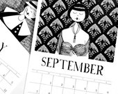2016 Calendar // 1920s style flapper doodle art deco calendar
