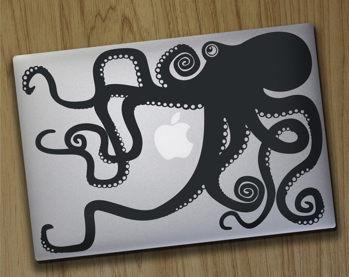 Octopus macbook decal, macbook pro sticker, macbook air decal, tentacles, octopus design, FREE SHIPPING