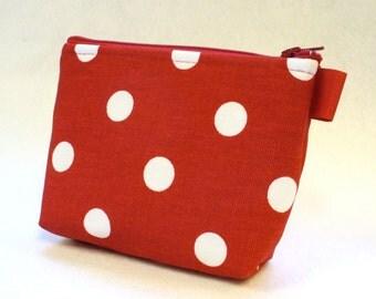 Polka Dot Fabric Makeup Bag Cosmetic Bag Zipper Pouch Makeup Bag Gadget Pouch Zip Pouch Red White MTO