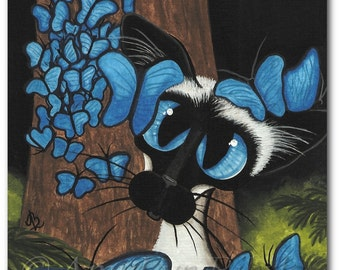 Siamese Cat  Blue Butterflies  - Art Prints by Bihrle ck360