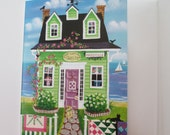 Cozy Cottage Quilt Shop Blank Card with Envelope Artwork by Kim Leo