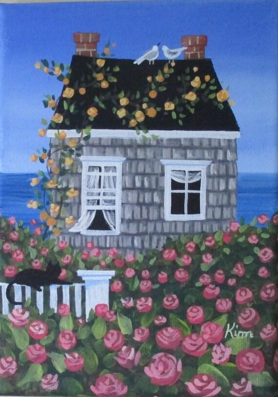 Arrêter et sentir le Roses Folk Art Print