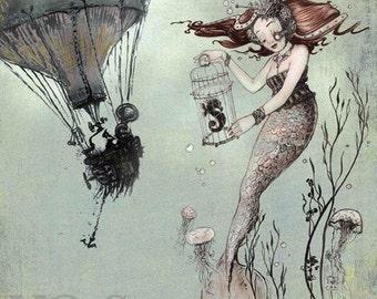 Fantasy Art Print - Mermaid Print - giclée  WALL Art PRINT Nautical - Steampunk Art -  Mermaid Fantasy Art - Seahorse - by the Filigree