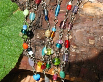 ON SALE!~Cascade Of Color Glass Bead Link Necklace on German Silver wire