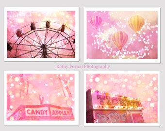 Pink Carnival Photography, Dreamy Baby Girl Nursery Art, Pink Yellow Ferris Wheel Candy Apples Ticket Booth Balloons, Set of Four Prints 5x7