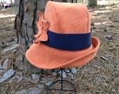 Cloche in Orange Cord with Navy trim