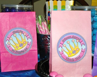 Princess Birthday Party Favor Bags W/Sticker Seals. Princess Crown Loot Bag Princess Goody Bags. Girls Birthday Party. Set of 10. Pick Size