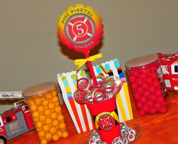 Items similar to fire truck centerpiece balloon in a cup