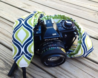 Monogramming Included Camera Strap for DSL Camera Navy, Lime Green, White