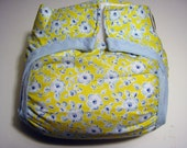Waterproof PUL Diaper cover Powder blue flowers printed on yellow background 6-14 pounds