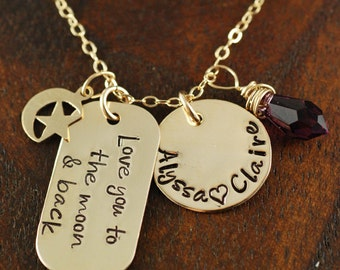 Hand Stamped Jewelry - Personalized Jewelry - Love you to the Moon and Back - Mommy Jewelry - Dog Tag Jewelry