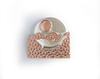 Porpoise Jewelry, Dolphin Pendant Silver and Copper
