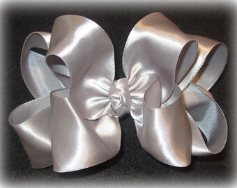 Silver Satin Hair Bows - Double Layered Hair Bow - Baby Toddler Girls Hairbows - Party Bow - Pageant bows - Gray Grey Hairbow -