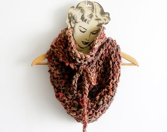 Knitted Scarf Brown Shades Chunky Cowl Triangular Shape