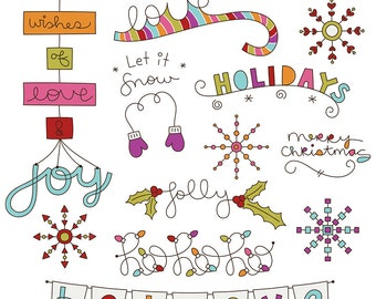Christmas Wish No1 Digital Clipart Clip Art Illustrations - instant download - limited commercial use ok