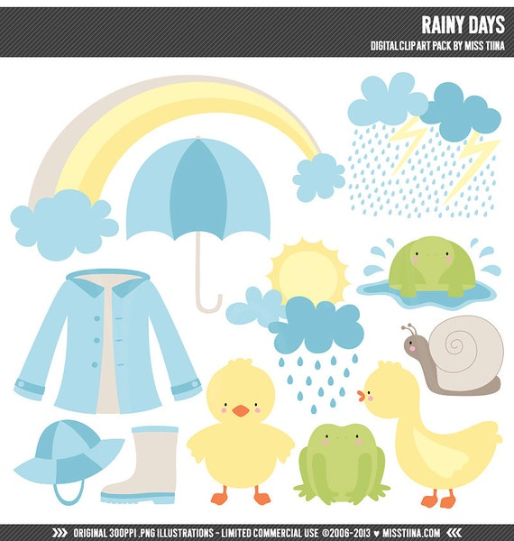 Rainy Day Clip Art: Rainy Days Digital Clipart Clip Art Illustrations Instant