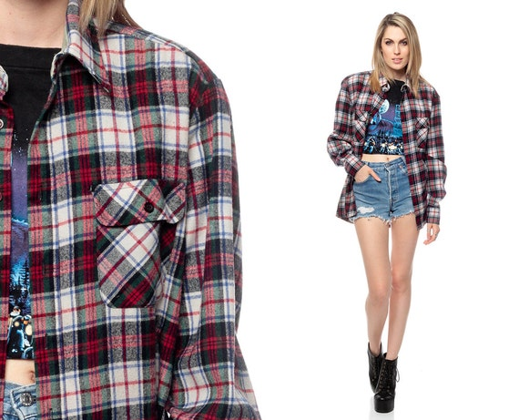 Oversized flannel shirt 90s grunge red green white plaid long for Oversized red plaid shirt