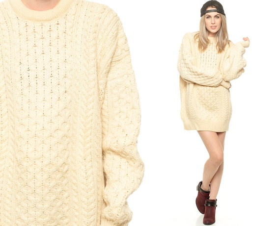 CREAM CABLE KNIT SWEATER DRESS OVERSIZE CHUNKY KNIT BY SHOPEXILE ...