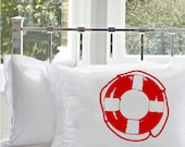 One (1) Red Life Saver White Nautical Pillowcase pillow case cover