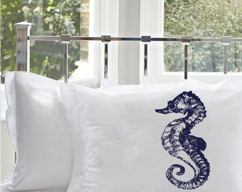 Two (2) Navy Blue Sea Horse White Nautical Pillowcase cover pillow cases