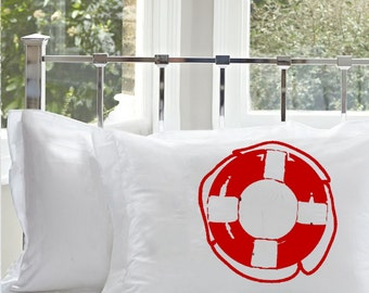 Two (2) Red Life Saver ring White Standard Nautical Pillowcase pillow cover case