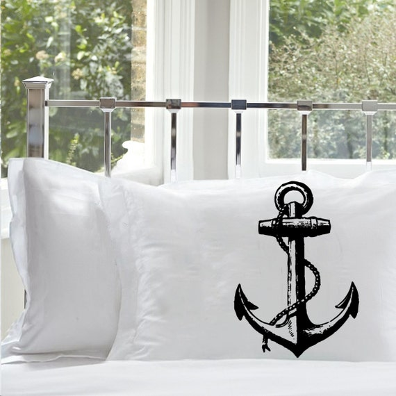 Two (2) Black NAUTICAL Ship's Anchor PILLOWCASE pillow case covers bedding room decor