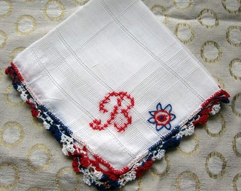 """White Cotton Hanky/Handkerchief with Monogram"""" B""""  in Red with Red,White and Blue  Crochet"""