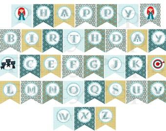 Digital Brave Birthday Banner,  Printable,  Alphabet,  Personalize, Brave Party,  Princess, Royal, Merida, Brave banner,  INSTANT DOWNLOAD