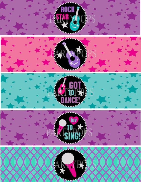 RockStar Party Printable Water Bottle Bottle Labels Napkin