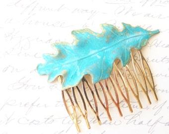 Verdigris Leaf Hair Comb - Oak Leaf - Woodland Collection - Patina - Whimsical - Nature - Bridal