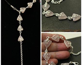 sweet pink romantic rose quartz . silver swirls . bracelet
