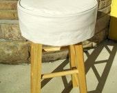 Bar Stool Cushion, Ivory Canvas, Round Barstool Slipcover with Cushion, Bar Stool Covers