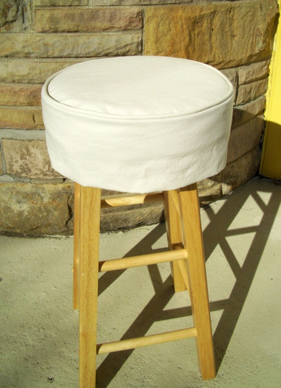 Ivory Bar Stool Cushion Round Barstool Slipcover with : il570xN573206943h56k from www.etsy.com size 570 x 786 jpeg 110kB