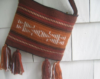 Vintage Handbag Purse Woven Yarn Boho