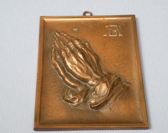 Vtg Danish Copper Praying Hands Plaque