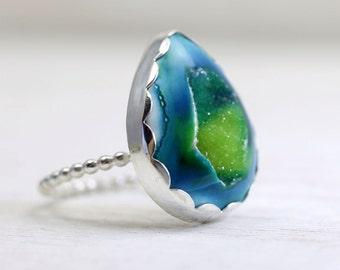 Custom druzy ring in your custom size, Pick-your-own druzy stone