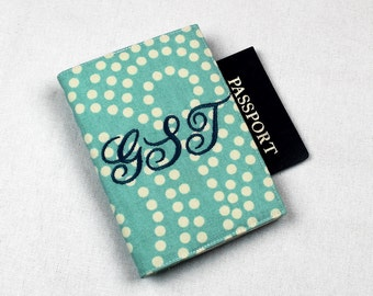 Personalized Fabric Passport Cover Custom Personalized with Velcro Closure - Blue and White Swirl Dots