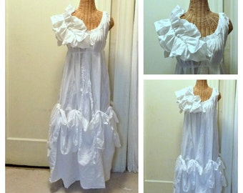 Wedding Ball Gown Ruffles and Bows Maxi Bridal Dress Patisserie Petite Custom Order Ivory or White Vintage Inspired