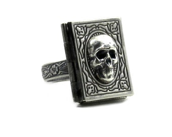 Gothic Mourning Photo Locket Ring - El Libro del Muerto - Book of the Dead with Adjustable Floral Embellished Band