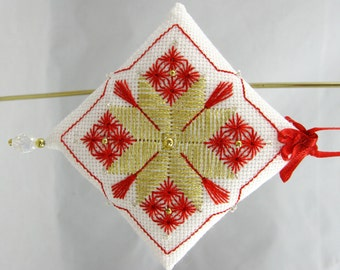 Beaded Embroidery Christmas Ornament 203